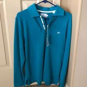 Southern Tide New 100% Pique Cotton Teal Color.